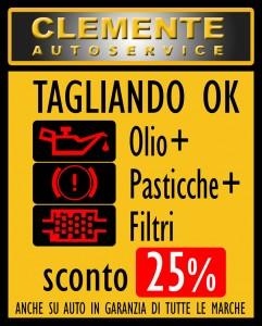 Offerta Tagliando OK Autofficina Clemente Autoservice, Olio + pasticche + Filtri: sconto 25%